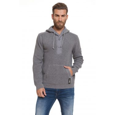 Pull col bouton gris