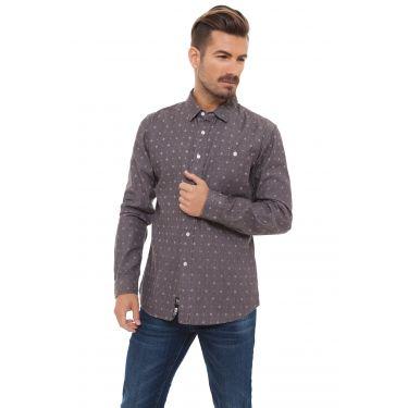 Chemise gris foncé à motifs