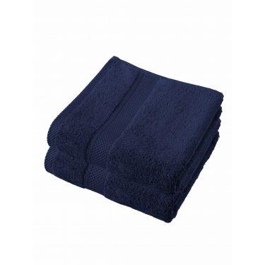 Lot de 2 serviettes 50x100 cm bleu foncé