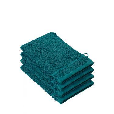 Lot de 4 gants de toilette bleu canard