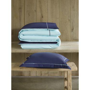 1 Housse de couette 140x200/220 cm + 1 Taie d'oreiller Bleu marine /bleu clair
