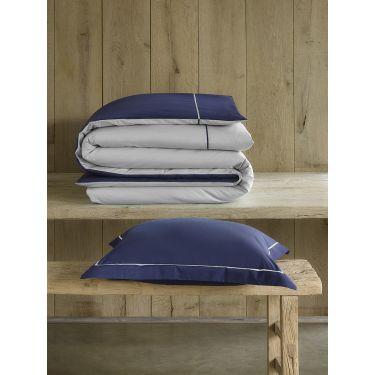 1 Housse de couette 140x200/220 cm + 1 Taie d'oreiller Bleu marine / taupe