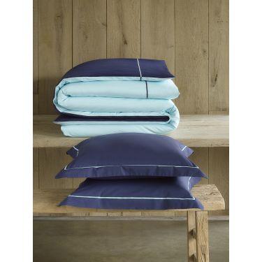 1 Housse de couette 240x220 cm + 2 Taies d'oreiller Bleu marine /bleu clair