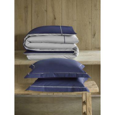 1 Housse de couette 240x220 cm + 2 Taies d'oreiller Bleu marine / taupe