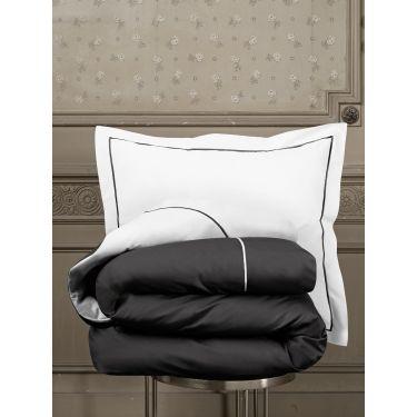 1 Housse de couette 140x200/220 cm + 1 Taie d'oreiller Blanc / Gris