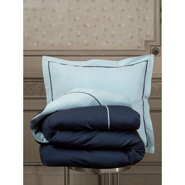 1 Housse de couette 140x200/220 cm + 1 Taie d'oreiller Bleu ciel / Marine