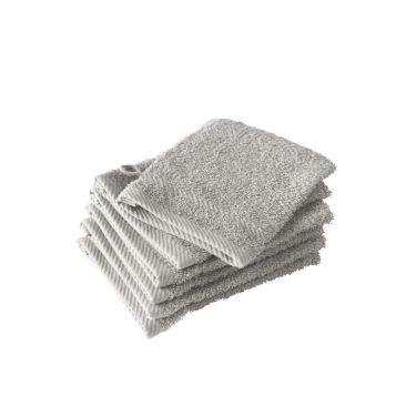 Lot de 6 gants de toilette gris
