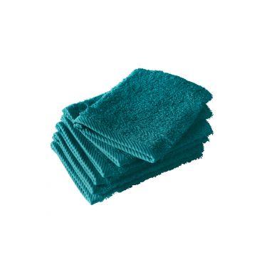 Lot de 6 gants de toilette bleu canard