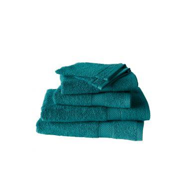 Set de 2 gants + 2 serviettes + 2 draps de douche bleu canard