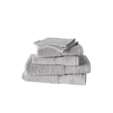 Set de 2 gants + 2 serviettes + 2 draps de douche gris