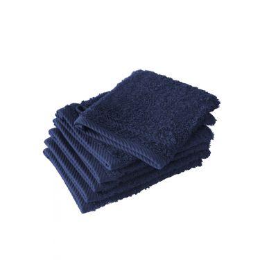 Lot de 6 gants de toilette bleu foncé