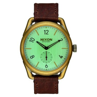 MONTRE C39 Leather Brass / Green Crystal / Brown