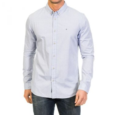 Chemise bleue motif & logo CK