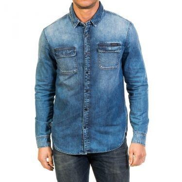Chemise bleue jean délavée