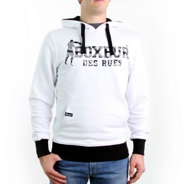 Sweat capuche blanc-noir