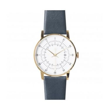 Polished Gold Stainless Steel w/ Eggshell White Dial and Navy Leather Strap