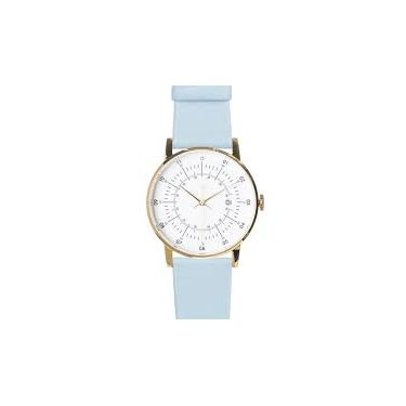 Polished Gold Stainless Steel w/ Eggshell White Dial and P. Blue Leather Strap