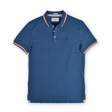 Polo bleu - logo bleu marine