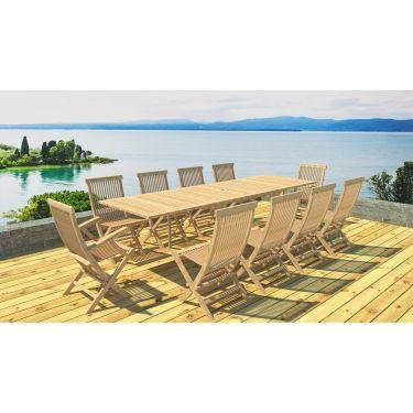 Table rectangulaire en teck brut 200/300 + 8 chaises + 2 fauteuils