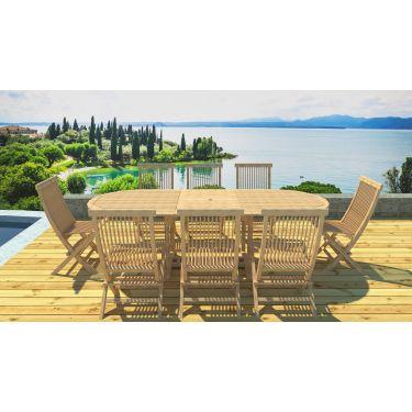 Table ovale en teck brut 180/240 / 8 chaises