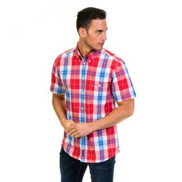 Chemise manches courtes à carreaux rouge et bleu