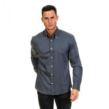 Chemise manches longues bleu et gris