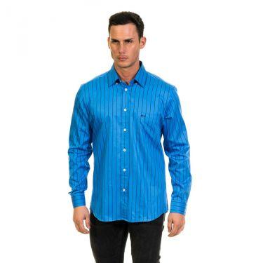 Chemise manches longues rayée bleu et noir
