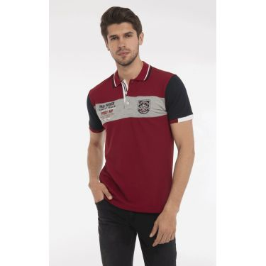 polo rouge bande grise