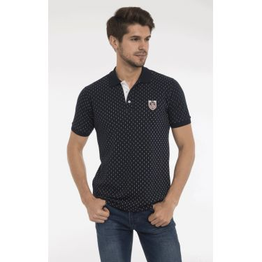 polo navy pois blancs