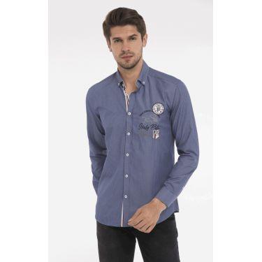 chemise rayé bleu rond