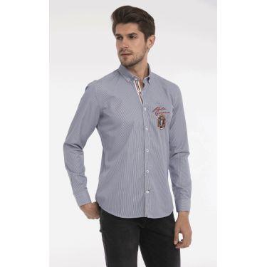 chemise rayé navy écusson