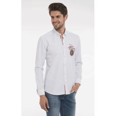 chemise rayé blanche écusson