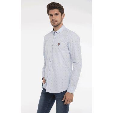 chemise pois bleu ciel