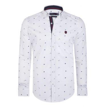 Chemise blanc - navy - rouge