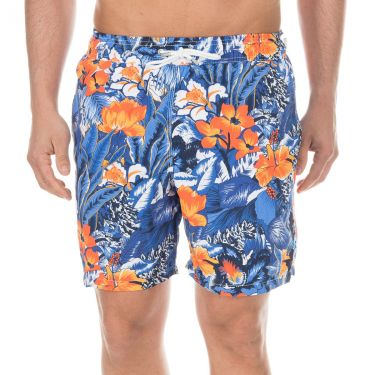 Maillot de bain fleuris bleu orange-0AA