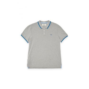 Polo gris - logo bleu marine