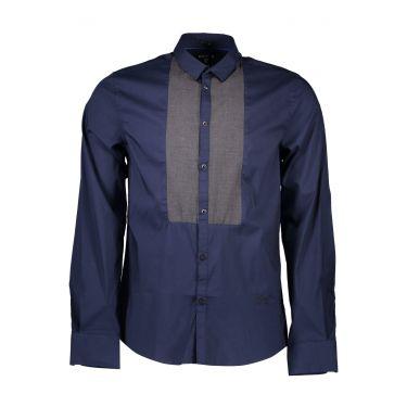 Chemise à manches longues fines bleu M50