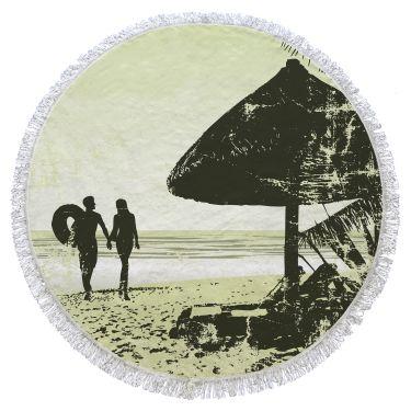 Serviette de plage ronde multicolore-087