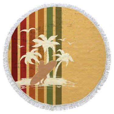 Serviette de plage ronde multicolore-140