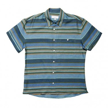 DILLON SHIRT BLUE/GREEN STRIPE