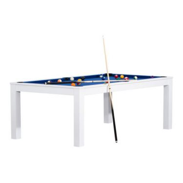Billard convertible en table à manger - Couleur blanc boisé avec tapis bleu