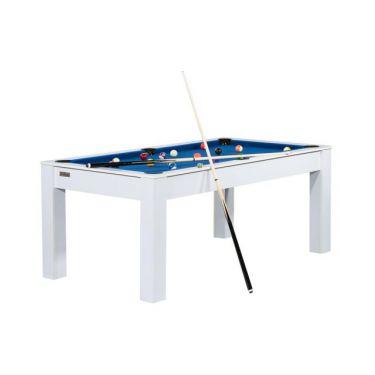 Billard Manhattan convertible en table à manger - Couleur blanche avec tapis bleu